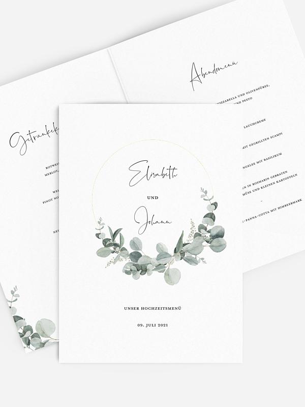 Menükarte Hochzeit Eucalyptus Love