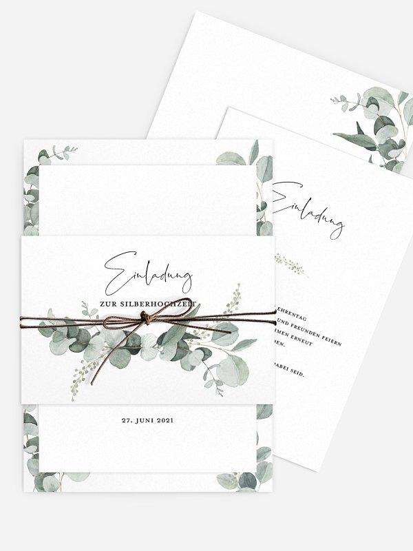 Einladung zur Silberhochzeit Eucalyptus Love