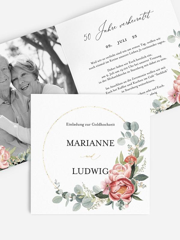 Einladung zur Goldenen Hochzeit Peach Peony Wreath