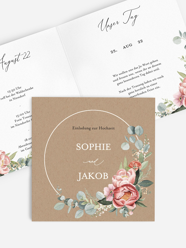 Hochzeitseinladung Peach Peony Wreath