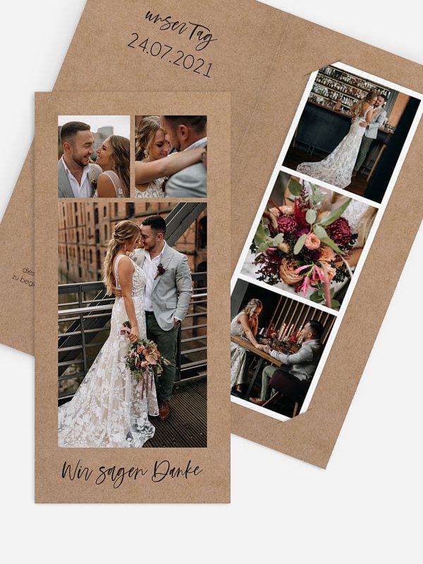 Dankeskarte Hochzeit Photo Strip