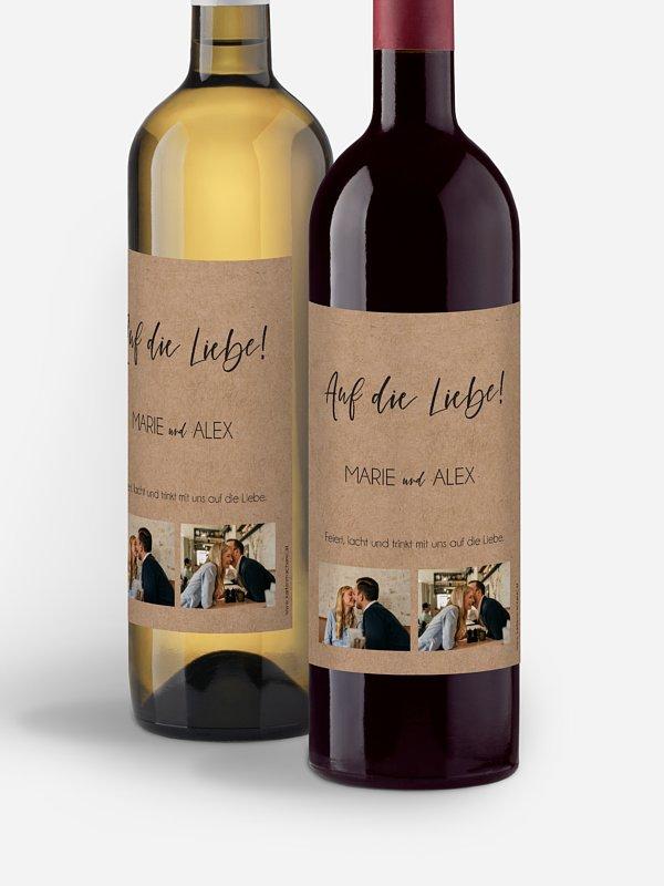 Flaschenetikett Hochzeit Photo Strip