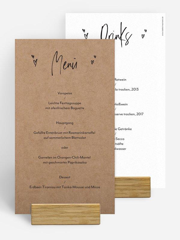 Menükarte Hochzeit Lasting Love