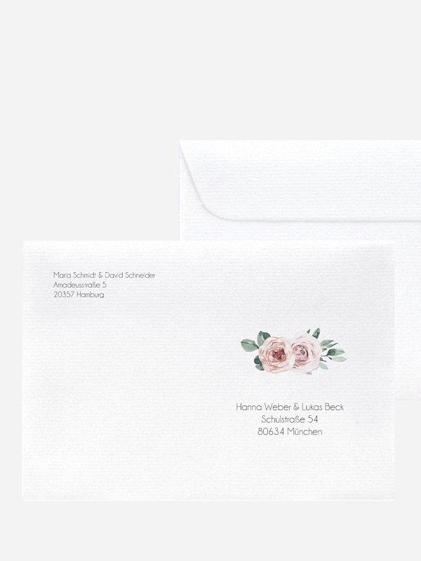 Bedruckter Briefumschlag Hochzeit Rose Diaries