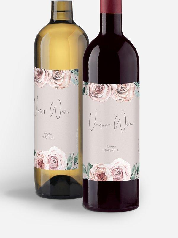Flaschenetikett Hochzeit Rose Diaries