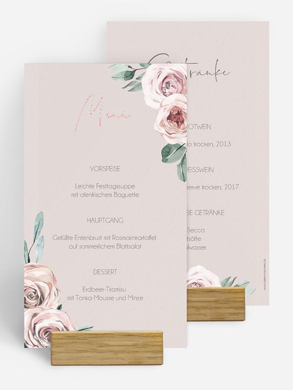 Menükarte Hochzeit Rose Diaries