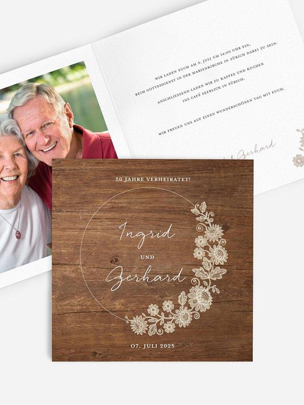 Einladung zur Goldenen Hochzeit Lace Loop