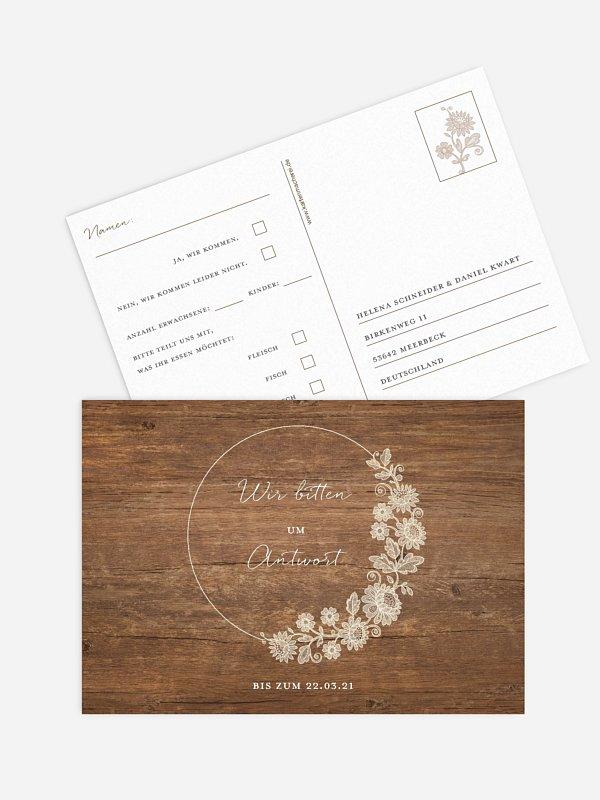 Antwortkarte Hochzeit Lace Loop