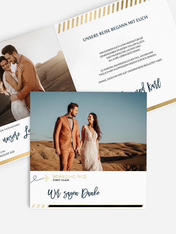 Dankeskarte Hochzeit Boarding Pass