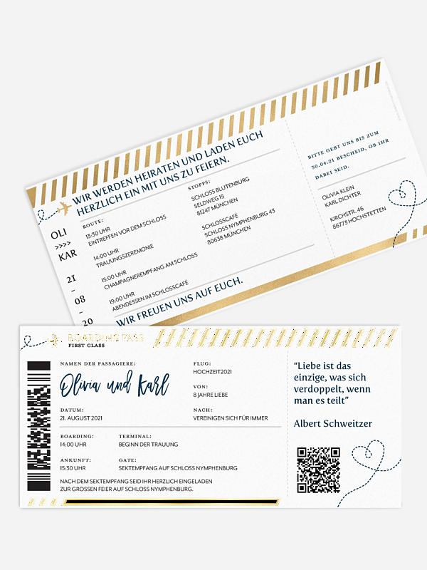 Hochzeitseinladung Boarding Pass