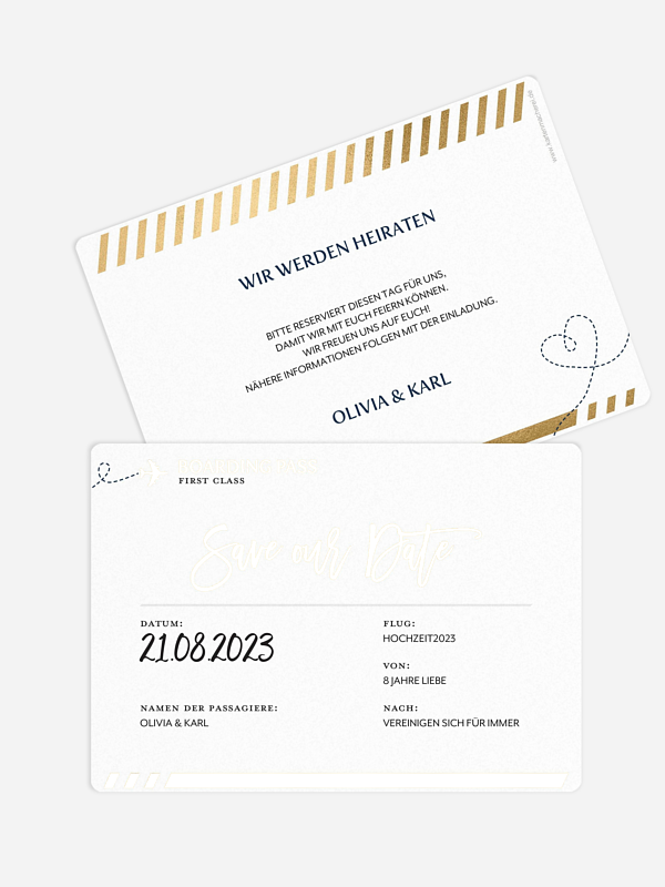 Save-the-Date Karte Boarding Pass