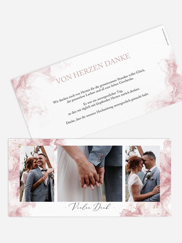 Dankeskarte Hochzeit Rose Marble