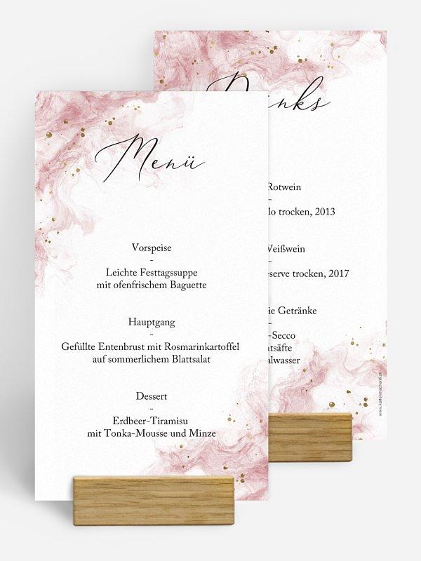 Menükarte Hochzeit Rose Marble