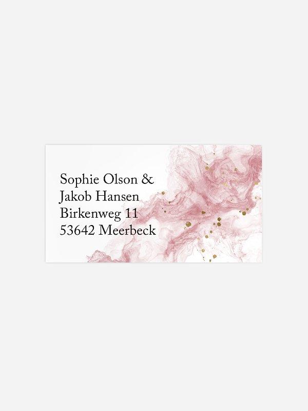 Empfängeraufkleber Hochzeit Rose Marble