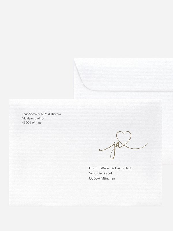 Bedruckter Briefumschlag Hochzeit Wir Zwei