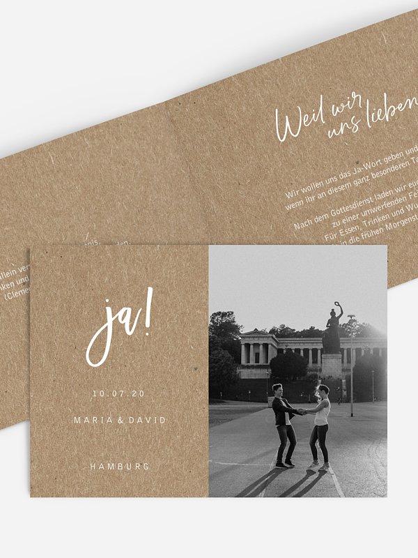Hochzeitseinladung Love Crush Kraftpapier