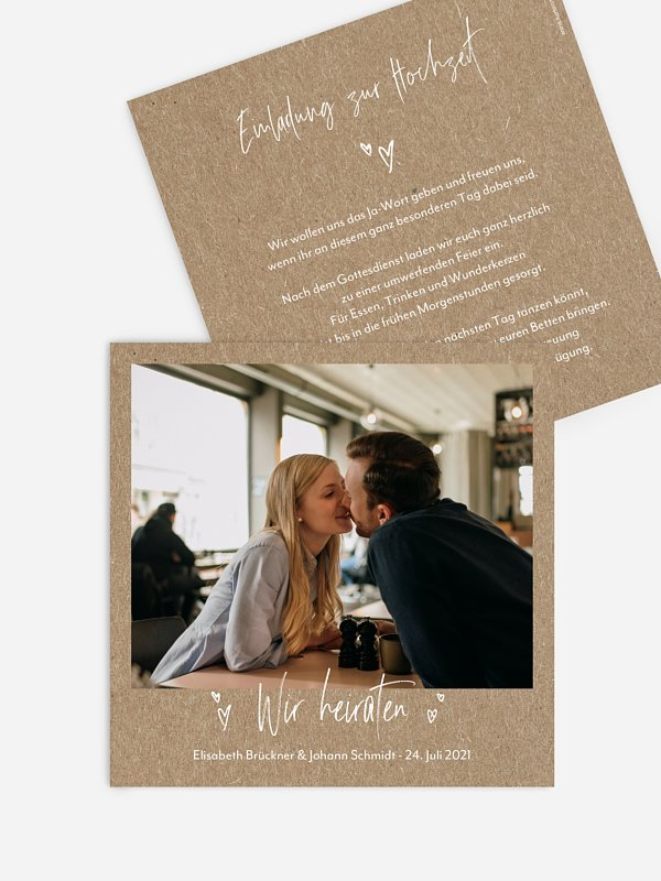 Hochzeitseinladung Lasting Love Kraftpapier