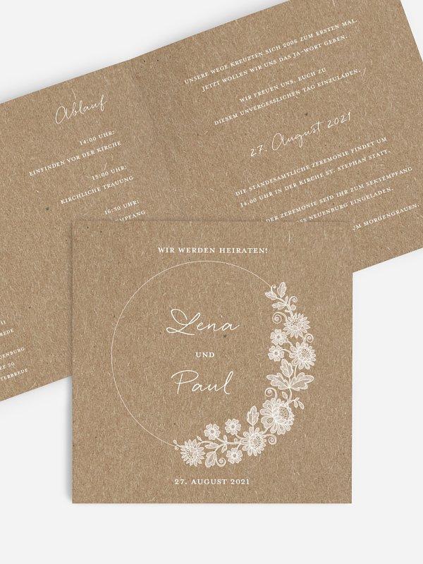Hochzeitseinladung Lace Loop Kraftpapier