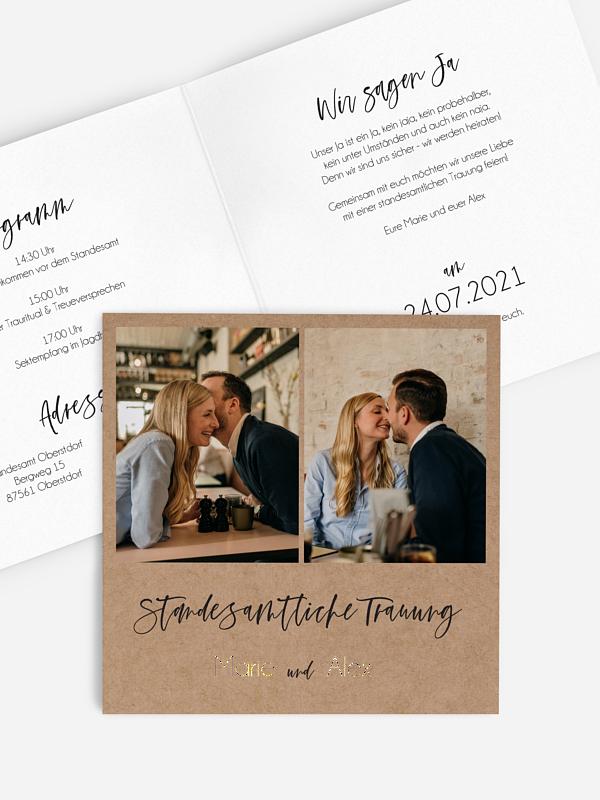Hochzeitseinladung Standesamt Photo Strip