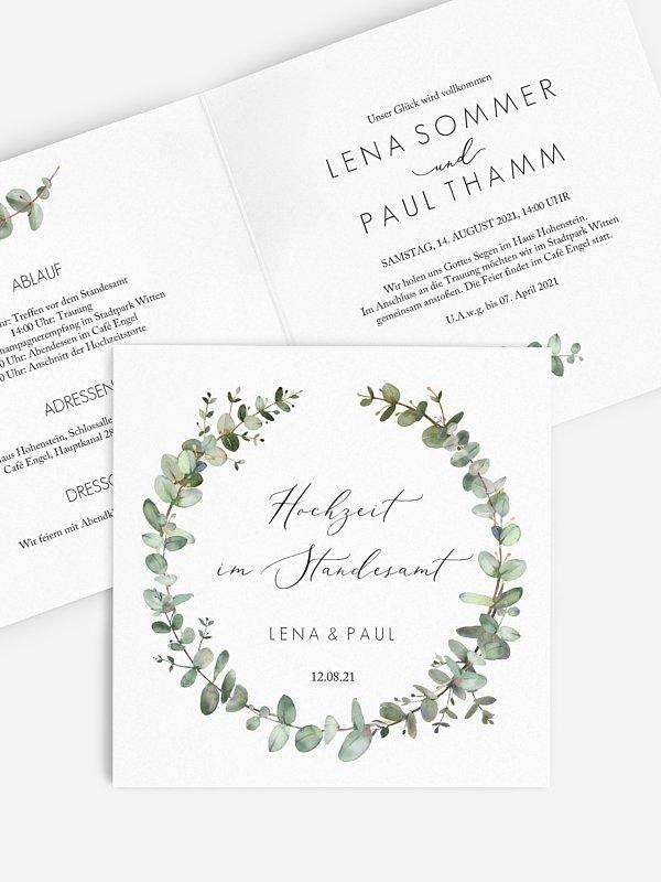 Hochzeitseinladung Standesamt Green Minimal