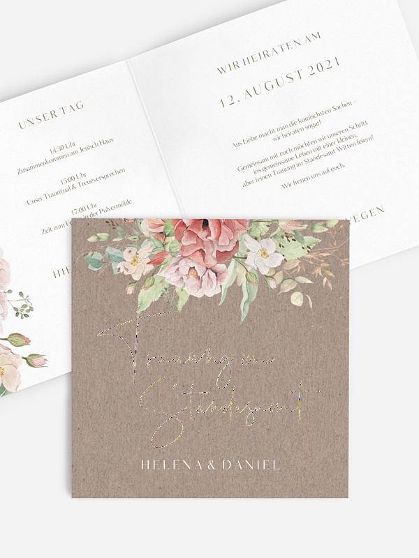 Hochzeitseinladung Standesamt Romantic Garden