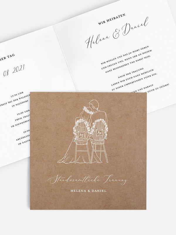 Hochzeitseinladung Standesamt Romantic Love
