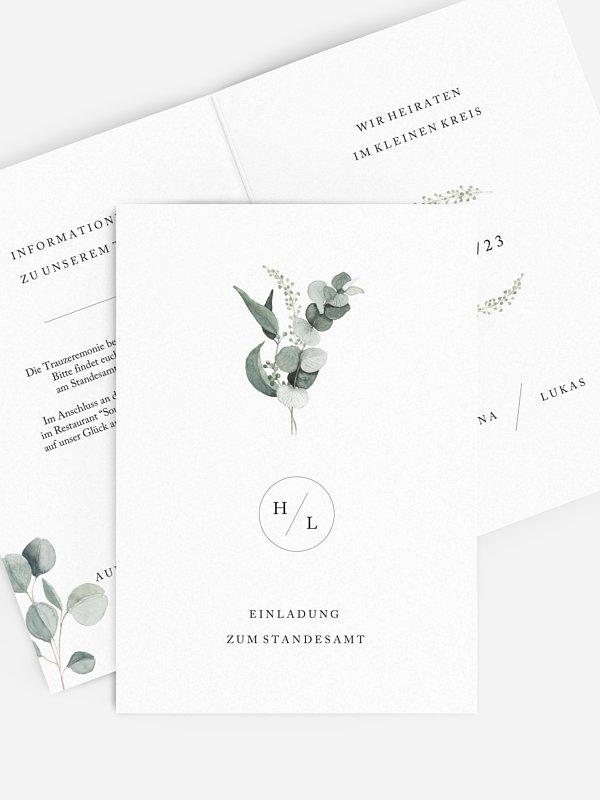 Hochzeitseinladung Standesamt Scandi Eucalyptus