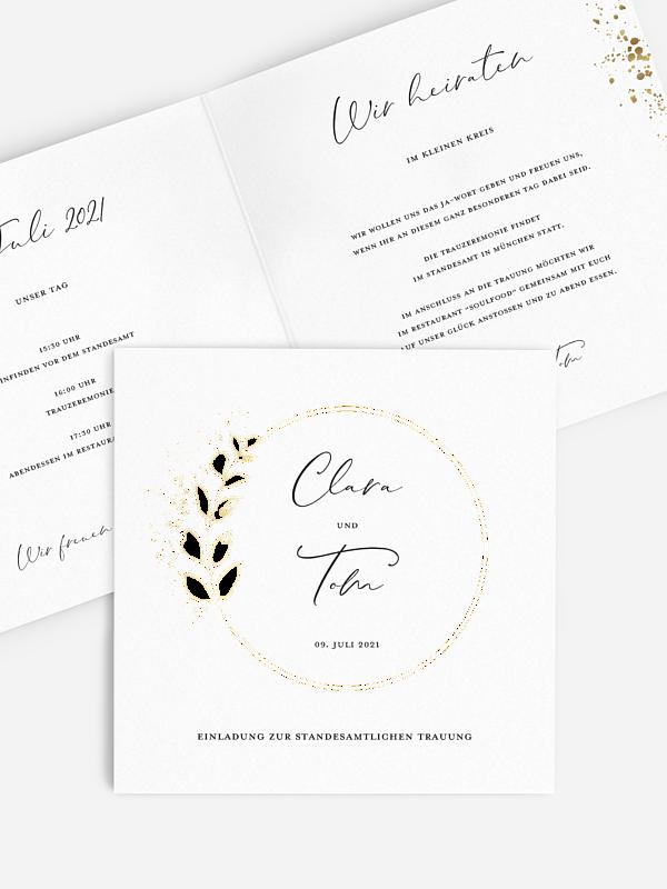 Hochzeitseinladung Standesamt Elegant Leaf