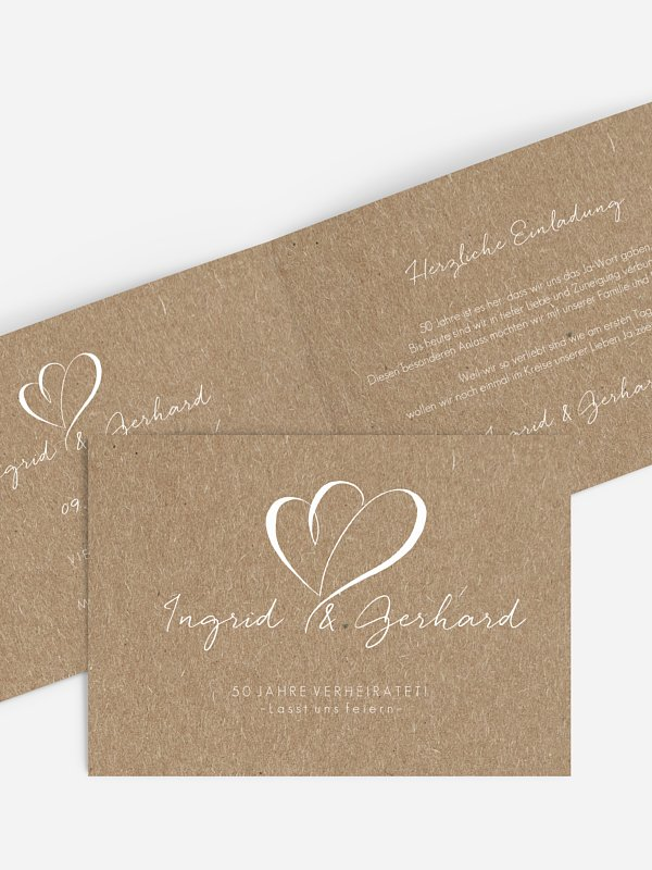 Einladung zur Goldenen Hochzeit Herz an Herz Kraftpapier