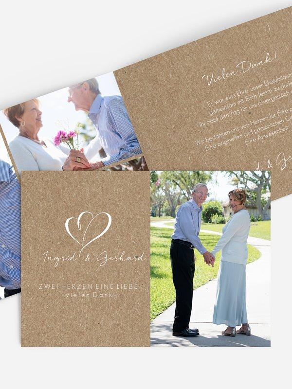 Danksagung zur Goldenen Hochzeit Herz an Herz Kraftpapier